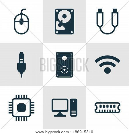 Set Of 9 Computer Hardware Icons. Includes Aux Cord, Chip, Dynamic Memory And Other Symbols. Beautiful Design Elements.