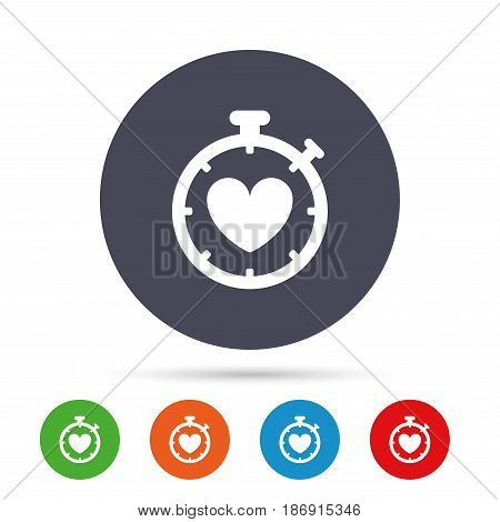 Heart Timer sign icon. Stopwatch symbol. Heartbeat palpitation. Round colourful buttons with flat icons. Vector