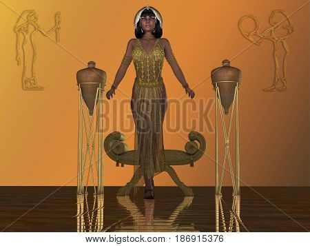 Golden Egyptian Princess 3d illustration - An Egyptian princess arises from a chair in a temple dressed in traditional gown and headdress from that era.
