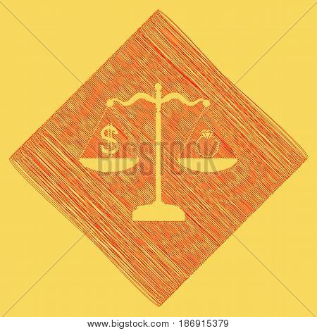 Ring jewelery and dollar symbol on scales. Vector. Red scribble icon obtained as a result of subtraction rhomb and path. Royal yellow background.