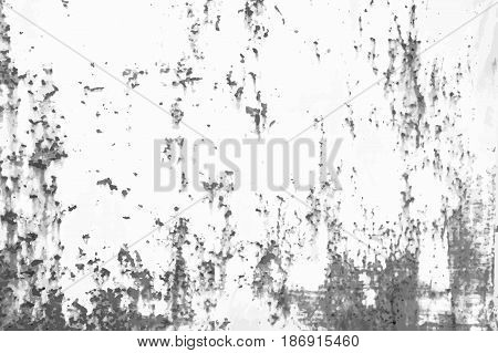 Rusted metal vintage effect background. Grunge black and white vector texture template for overlay artwork.