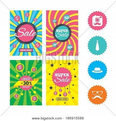 Web banners and sale posters. Hipster photo camera with mustache icon. Glasses and tie symbols. Classic hat headdress sign. Special offer and discount tags. Vector