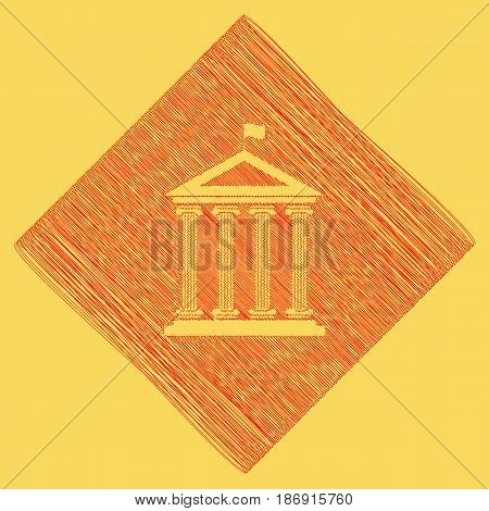 Historical building with flag. Vector. Red scribble icon obtained as a result of subtraction rhomb and path. Royal yellow background.
