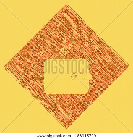 Wallet sign with currency symbols. Vector. Red scribble icon obtained as a result of subtraction rhomb and path. Royal yellow background.
