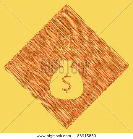 Money bag sign with currency symbols. Vector. Red scribble icon obtained as a result of subtraction rhomb and path. Royal yellow background.