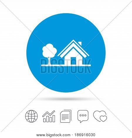 Home sign icon. House with tree symbol. Copy files, chat speech bubble and chart web icons. Vector