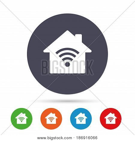 Home Wifi sign. Wi-fi symbol. Wireless Network icon. Wifi zone. Round colourful buttons with flat icons. Vector