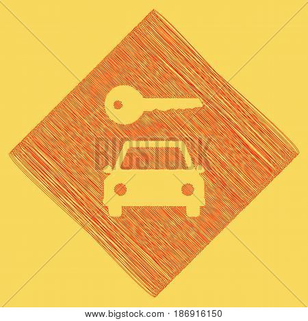 Car key simplistic sign. Vector. Red scribble icon obtained as a result of subtraction rhomb and path. Royal yellow background.
