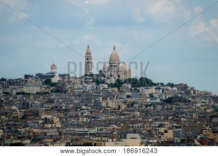 Town of Paris around Sacre Coeur on top of the hill