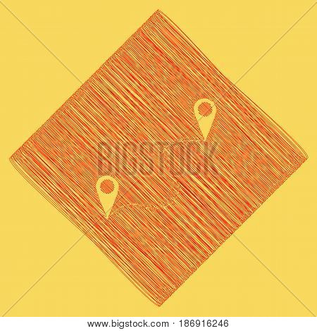 Location pin navigation map, gps sign. Vector. Red scribble icon obtained as a result of subtraction rhomb and path. Royal yellow background.