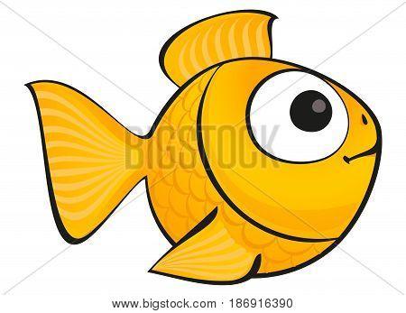 Golden fish isolated. Vector aquarium fish silhouette illustration. Colorful cartoon flat aquarium fish icon for your design.