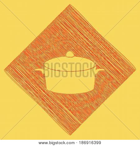 Pan sign. Vector. Red scribble icon obtained as a result of subtraction rhomb and path. Royal yellow background.