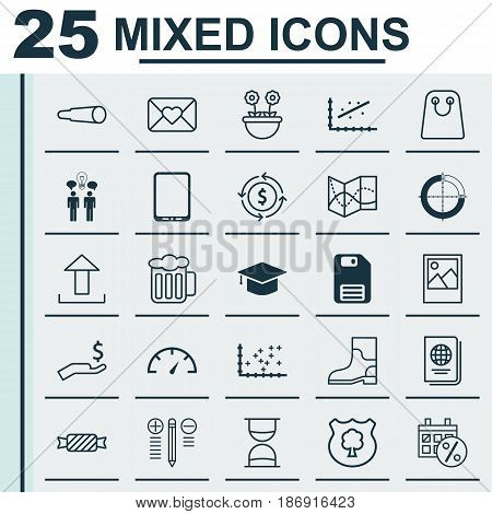 Set Of 25 Universal Editable Icons. Can Be Used For Web, Mobile And App Design. Includes Elements Such As Graduation, Cellphone, Ale And More.