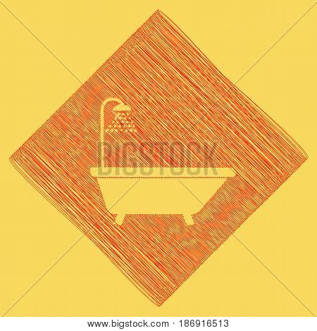 Bathtub sign. Vector. Red scribble icon obtained as a result of subtraction rhomb and path. Royal yellow background.