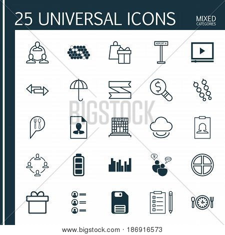 Set Of 25 Universal Editable Icons. Can Be Used For Web, Mobile And App Design. Includes Elements Such As Gingham, Video Player, Diskette And More.