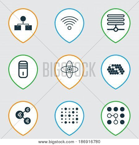 Set Of 9 Robotics Icons. Includes Wireless Communications, Atomic Cpu, Analysis Diagram And Other Symbols. Beautiful Design Elements.