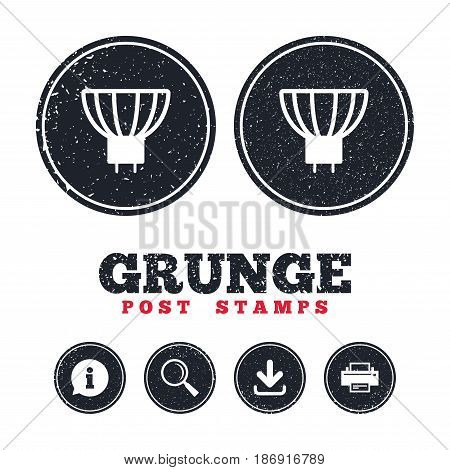 Grunge post stamps. Light bulb icon. Lamp GU5.3 socket symbol. Led or halogen light sign. Information, download and printer signs. Aged texture web buttons. Vector