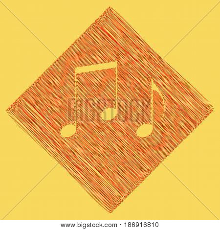 Music notes sign. Vector. Red scribble icon obtained as a result of subtraction rhomb and path. Royal yellow background.