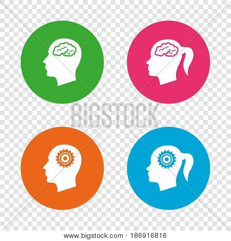 Head with brain icon. Male and female human think symbols. Cogwheel gears signs. Woman with pigtail. Round buttons on transparent background. Vector