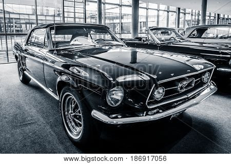 STUTTGART GERMANY - MARCH 03 2017: Pony car Ford Mustang convertible 1967. Black and white. Europe's greatest classic car exhibition