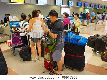 Queue At Airport Check-in Counter
