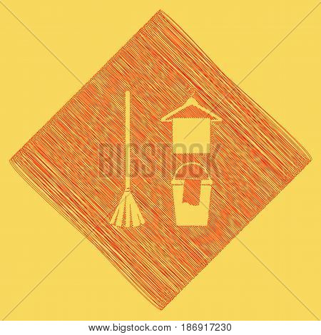 Broom, bucket and hanger sign. Vector. Red scribble icon obtained as a result of subtraction rhomb and path. Royal yellow background.