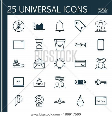 Set Of 25 Universal Editable Icons. Can Be Used For Web, Mobile And App Design. Includes Elements Such As Sequence Graphics, Password, Dialogue And More.