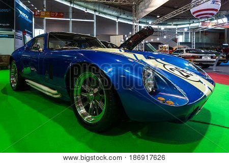 STUTTGART GERMANY - MARCH 03 2017: Sports car Shelby Daytona Cobra Coupe 1965. Europe's greatest classic car exhibition
