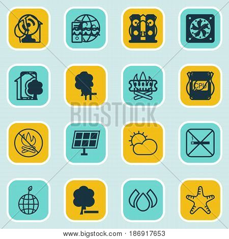 Set Of 16 Ecology Icons. Includes Delete Woods, Timber, Cigarette And Other Symbols. Beautiful Design Elements.