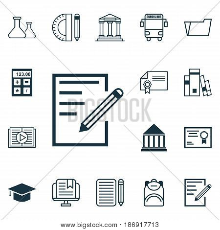 Set Of 16 Education Icons. Includes E-Study, Document Case, Graduation And Other Symbols. Beautiful Design Elements.