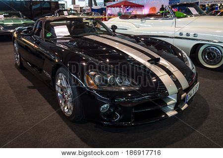 STUTTGART GERMANY - MARCH 03 2017: Sports car Dodge Viper SRT-10 2008. Europe's greatest classic car exhibition