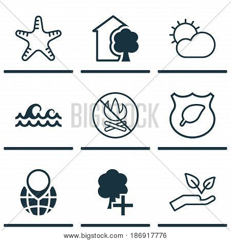 Set Of 9 Eco-Friendly Icons. Includes House, Guard Tree, Insert Woods And Other Symbols. Beautiful Design Elements.