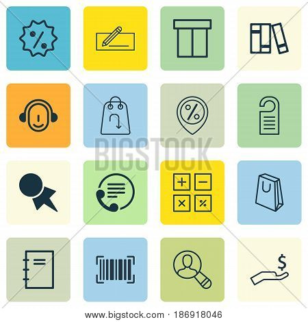 Set Of 16 E-Commerce Icons. Includes Refund, Box, Discount Location And Other Symbols. Beautiful Design Elements.