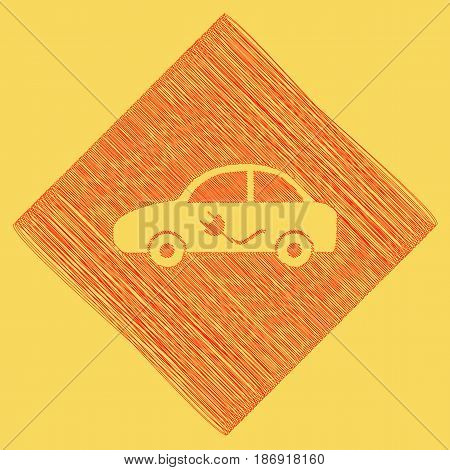 Electric car sign. Vector. Red scribble icon obtained as a result of subtraction rhomb and path. Royal yellow background.