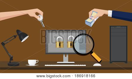 ransomware virus spread illustration with hand money and key vector