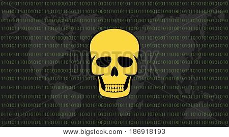 global attack ransomware skull with binary code background and world map vector