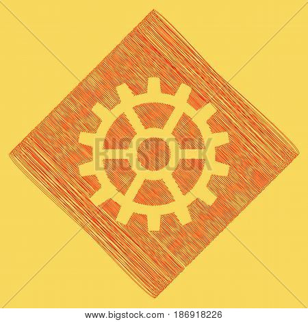 Gear sign. Vector. Red scribble icon obtained as a result of subtraction rhomb and path. Royal yellow background.