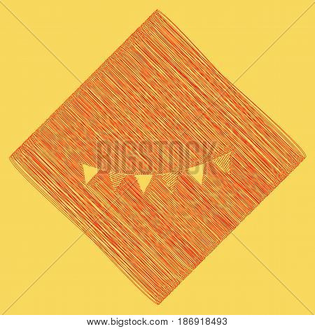 Holiday flags garlands sign. Vector. Red scribble icon obtained as a result of subtraction rhomb and path. Royal yellow background.