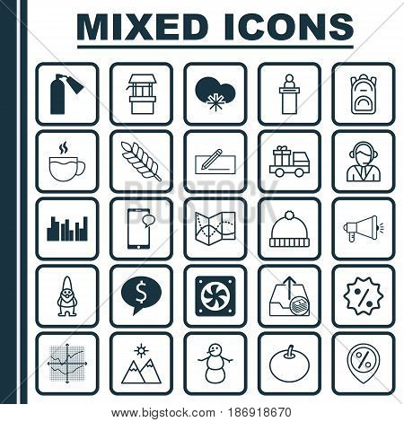 Set Of 25 Universal Editable Icons. Can Be Used For Web, Mobile And App Design. Includes Elements Such As Lorry Birthday, Rebate Sign, Outgoing Earnings And More.