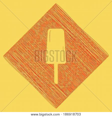 Ice Cream sign. Vector. Red scribble icon obtained as a result of subtraction rhomb and path. Royal yellow background.