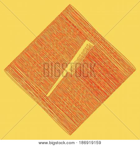 Comb sign. Vector. Red scribble icon obtained as a result of subtraction rhomb and path. Royal yellow background.