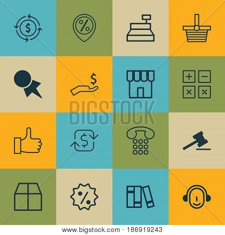 Set Of 16 Ecommerce Icons. Includes Recurring Payements, Finance, Pannier And Other Symbols. Beautiful Design Elements.
