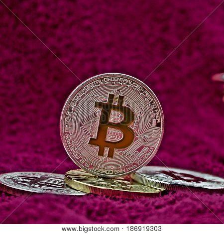 Silver Bitcoin Coin On Pink Scene