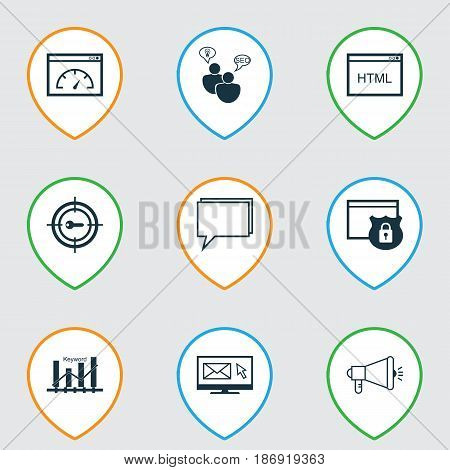 Set Of 9 Advertising Icons. Includes Keyword Optimisation, Newsletter, Security And Other Symbols. Beautiful Design Elements.