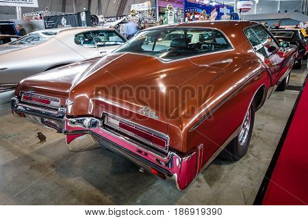 STUTTGART GERMANY - MARCH 03 2017: Personal luxury car Buick Riviera 1972. Rear view. Europe's greatest classic car exhibition