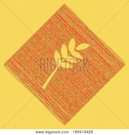 Tree branch sign. Vector. Red scribble icon obtained as a result of subtraction rhomb and path. Royal yellow background.