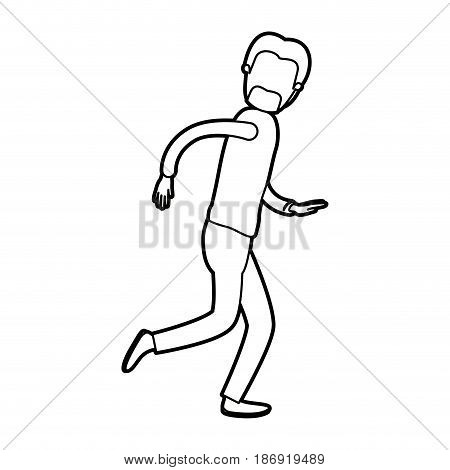 black thick contour caricature faceless full body male person with beard and moustache running vector illustration