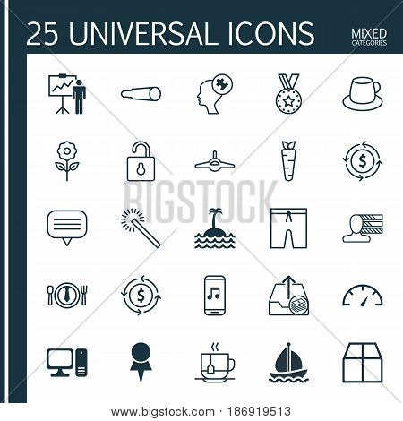 Set Of 25 Universal Editable Icons. Can Be Used For Web, Mobile And App Design. Includes Elements Such As Desktop Computer, Dinner, Text Bubble And More.