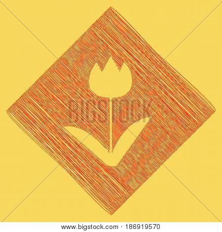 Tulip sign. Vector. Red scribble icon obtained as a result of subtraction rhomb and path. Royal yellow background.
