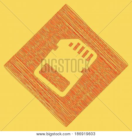Memory card sign. Vector. Red scribble icon obtained as a result of subtraction rhomb and path. Royal yellow background.